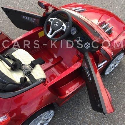 Электромобиль Mercedes-Benz SL63 AMG красный (резиновые колеса, кожа, пульт, музыка, ГЛЯНЦЕВАЯ ПОКРАСКА)