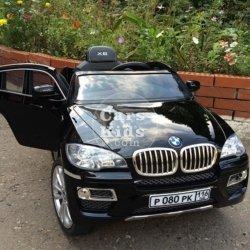 Электромобиль BMW X6 черный (колеса резина, кресло кожа, пульт, музыка)