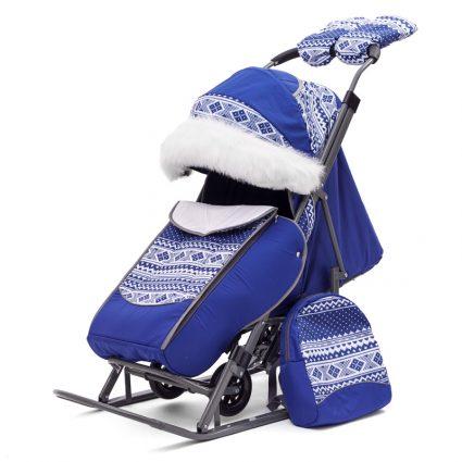 Санки-коляски Pikate Скандинавия «Синий» (материал «Dewspoo» плотностью 240 D, овчина, 3 положения спинки, краска рамы темно-серый)