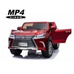 Электромобиль LEXUS LX 570 MP4 красный (сенсор. дисплей, легко съемный аккумулятор, 4WD, 2х местный, колеса резина, сиденье кожа, пульт, музыка)